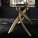 Table Sculptura en verre marron foncé brillant 190/240/290x90 cm