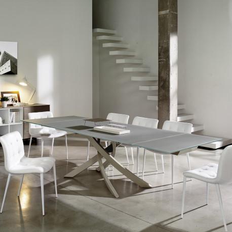 Table Sculptura en verre Gris tourterelle opaque 190/240/290x90 cm