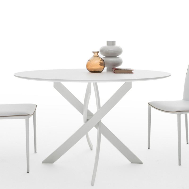Table elica ronde bois laqu blanc diam tre 120 cm cerise sur la deco - Table ronde blanc laque ...
