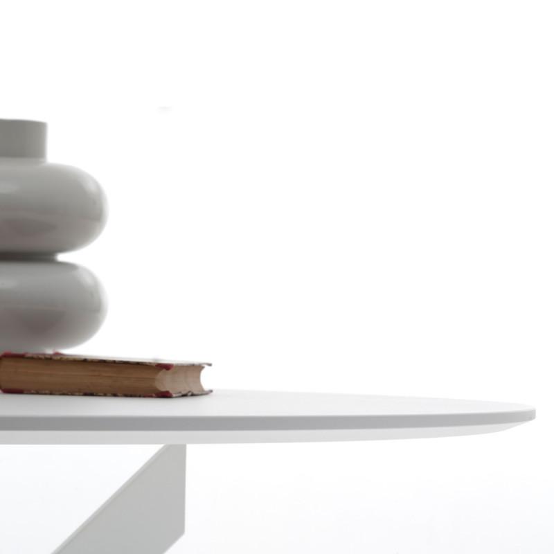 Table Elica ronde bois laqué blanc Diamètre 150 cm - Cerise sur la Deco