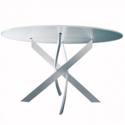 Table Elica ronde Extrawhite brillant Diamètre 110 cm