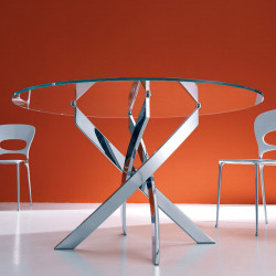 Table Elica ronde transparent extraclaire Diamètre 130 cm
