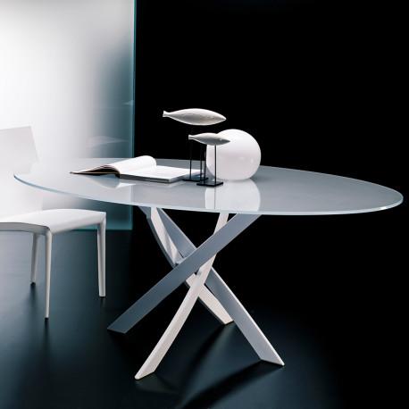 Table Elica ovale Extrawhite brillant 180x115 cm