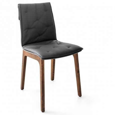 Chaise prima pieds en bois avec coussin anthracite for Chaise cuir pied bois
