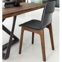 Chaise Prima pieds en bois avec coussin anthracite
