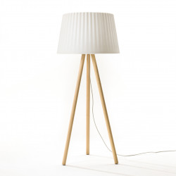 Lampadaire Agata Wood Outdoor, MyYour blanc, bois clair