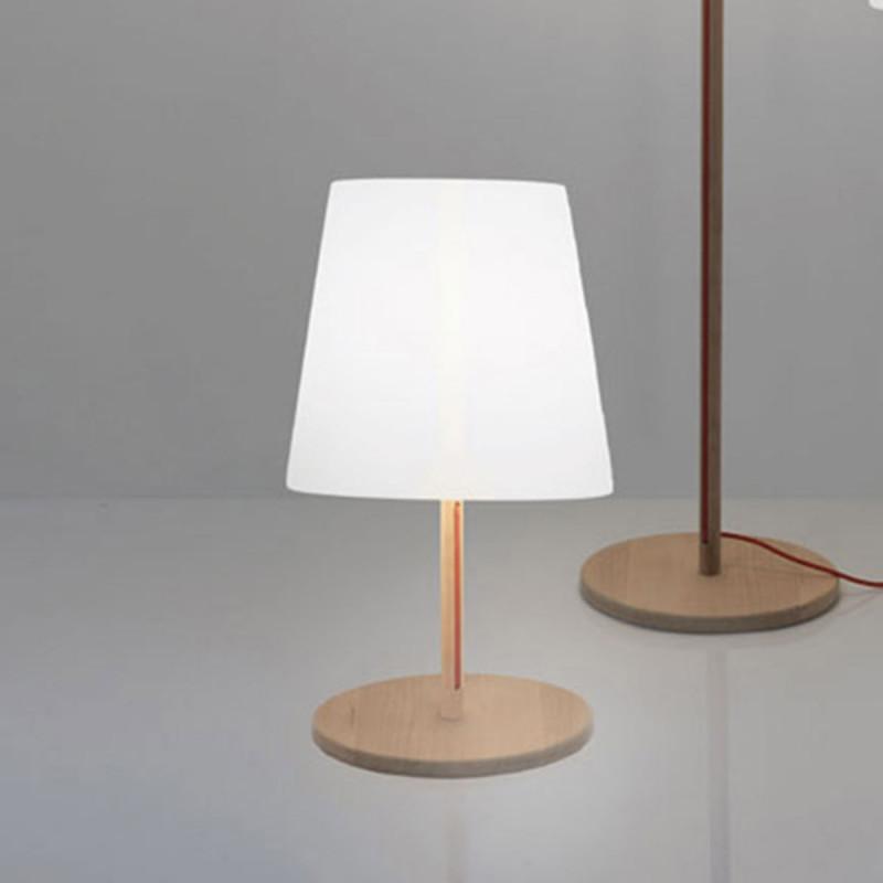 Lampe de sol ali baba wood slide design bois cerise sur for Lampe de sol but