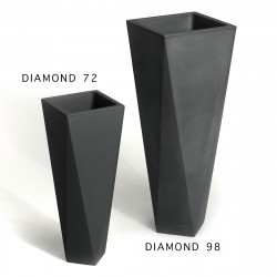 Pot Diamond 72, Plust noir perlé Mat