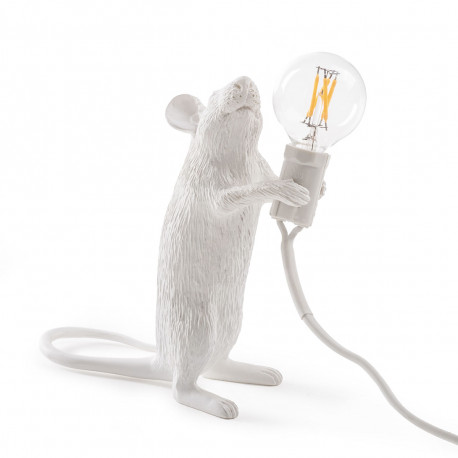 Lampe soursi, à poser, Mouse Standing, Seletti blanc