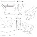 Banque d'accueil Origami, élément lateral, Proselec écru Laqué