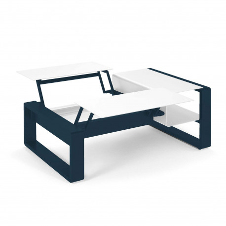 Kama Table modulable duo Aluminium Givré, Ego Paris Blanc givré-Outremer