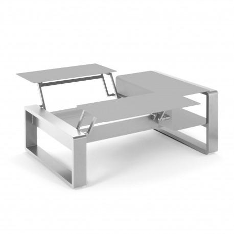 Kama Table modulable duo Aluminium Givré, Ego Paris Pierre givrée-Argent