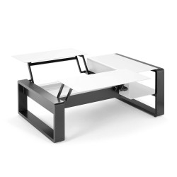 Kama Table modulable duo Aluminium Givré, Ego Paris Blanc givré-Acier