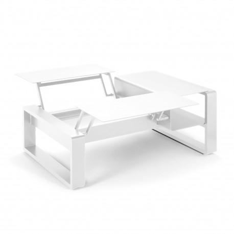 Kama Table modulable duo Aluminium Givré, Ego Paris Blanc givré-Blanc