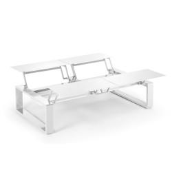 Kama Table modulable Quattro Aluminium Givré, Ego Paris Blanc givré-Blanc