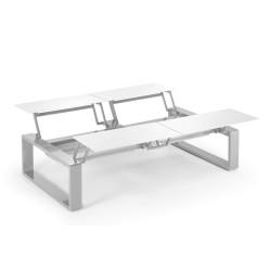 Kama Table modulable Quattro Aluminium Givré, Ego Paris Blanc givré-Argent