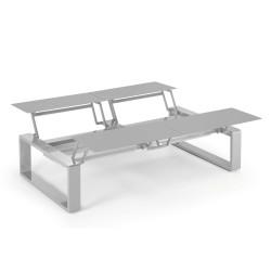 Kama Table modulable Quattro Aluminium Givré, Ego Paris Pierre givrée-Argent