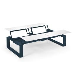 Kama Table modulable Quattro Aluminium Givré, Ego Paris Blanc givré-Outremer