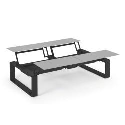 Kama Table modulable Quattro Aluminium Givré, Ego Paris Pierre givrée-Noir mat