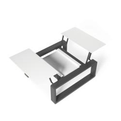 Kama Petite Table modulable Aluminium givré, Ego Paris Blanc givré-Acier