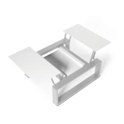 Kama Petite Table modulable Aluminium givré, Ego Paris Blanc givré-Argent