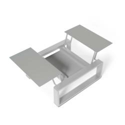 Kama Petite Table modulable Aluminium givré, Ego Paris Pierre givrée-Argent