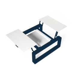 Kama Petite Table modulable Aluminium givré, Ego Paris Blanc givré-Outremer