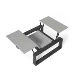 Kama Petite Table modulable Aluminium givré, Ego Paris Pierre givrée-Noir mat