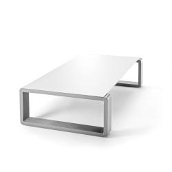 Kama Table Basse Aluminium Givré, Ego Paris Blanc Givré-Argent