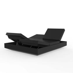 Banquette Vela Daybed avec 4 dossiers inclinables, Vondom noir Nautic, 200x180x40cm