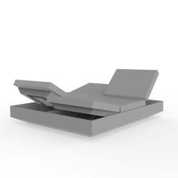 Banquette Vela Daybed avec 4 dossiers inclinables, Vondom gris acier Silvertex, 200x180x40cm