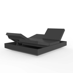 Banquette Vela Daybed avec 4 dossiers inclinables, Vondom Anthracite Silvertex, 200x180x40cm