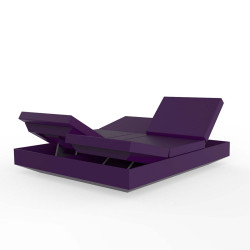 Lit de jardin double design Vela Daybed avec 4 dossiers inclinables, Vondom Violet Silvertex