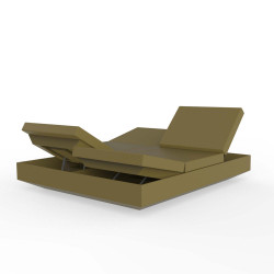 Banquette Vela Daybed avec 4 dossiers inclinables, Vondom Kaki Silvertex, 200x180x40cm