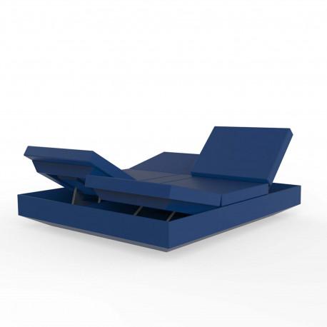 Lit de jardin double design Vela Daybed avec 4 dossiers inclinables, Vondom Bleu marine Silvertex