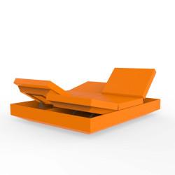 Banquette Vela Daybed avec 4 dossiers inclinables, Vondom orange Nautic, 200x180x40cm