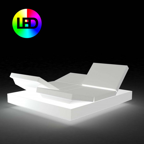 Banquette Vela Daybed avec 4 dossiers inclinables, Vondom Lumineux LED RGBW multicolore, 200x180x40cm