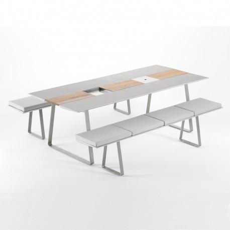 Table Extrados 240 Céramique gris avec Teck