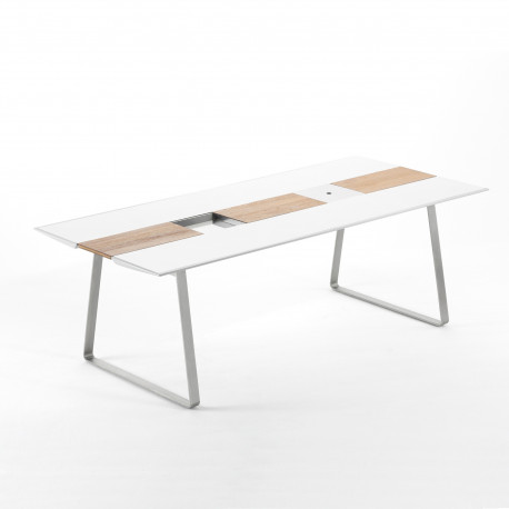 Table Extrados 240 Céramique blanc avec Teck