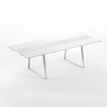 Table Extensible Extrados Medium Céramique Blanc et Aluminium