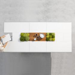 Table Extensible Extrados Medium Céramique blanc avec Teck et Aluminium