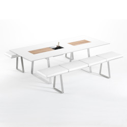 Table Extensible Extrados Medium Céramique blanc et Teck/Aluminium 182/242x110 cm