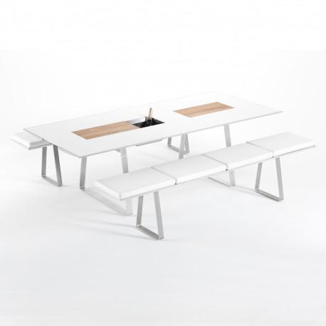 Table Extensible Extrados Medium Céramique blanc et Teck/Aluminium