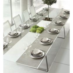 Table Extensible Extrados Large Céramique Gris et Corian blanc