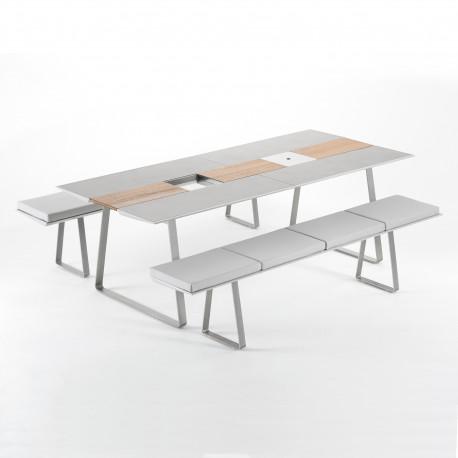 Table Extensible Extrados Large Céramique Gris et Teck