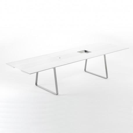 Table Extensible Extrados Large Céramique Blanc et Corian blanc