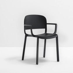 Chaise bistrot design, Dome 265 avec accoudoirs, Pedrali, noir