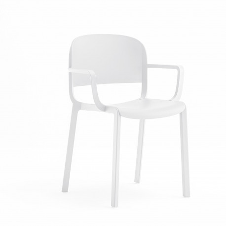 Chaise bistrot design, Dome 265 avec accoudoirs, Pedrali, blanc