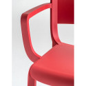 Chaise bistrot design, Dome 265 avec accoudoirs, Pedrali, rouge