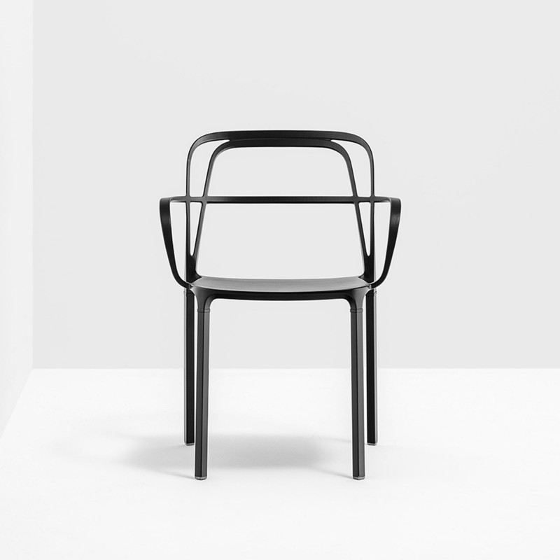 Lots De 2 Chaises Aluminium Avec Accoudoirs Intrigo 3715 Pedrali Noir